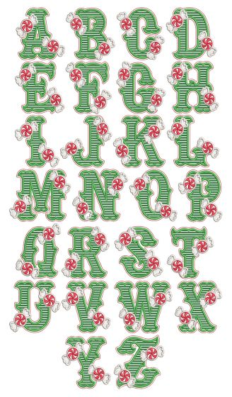 Peppermint Applique Alphabet Machine Embroidery Designs By JuJu