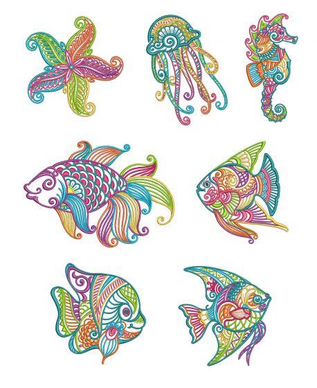 Mehndi Sea Life Set 1 Machine Embroidery Designs by JuJu