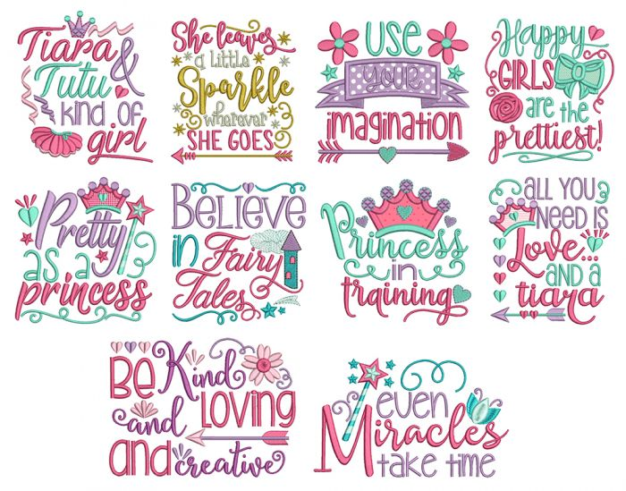 Princess Word Art Machine Embroidery Designs By JuJu