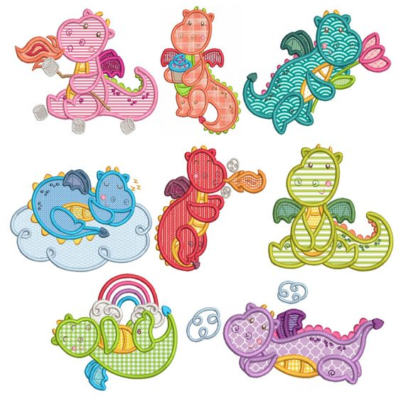 Sweet Dragons Applique Machine Embroidery Designs By JuJu