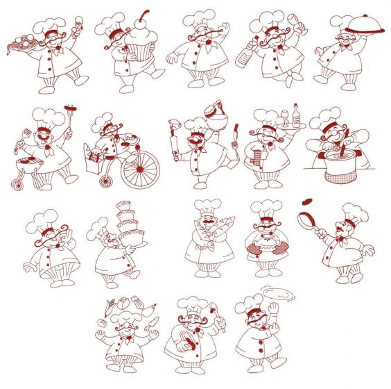 Bon appetit french chefs redwork machine embroidery designs