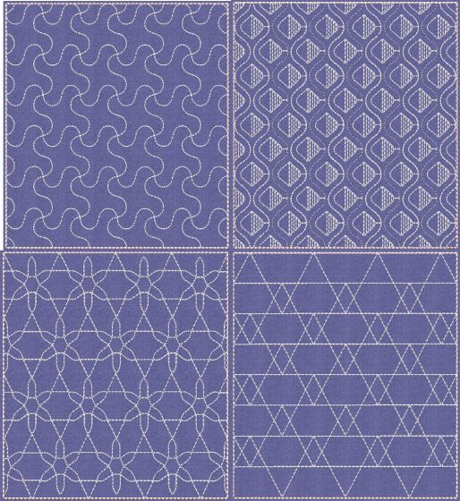 Sashiko Quilt Blocks 18 Machine Embroidery Designs by JuJu