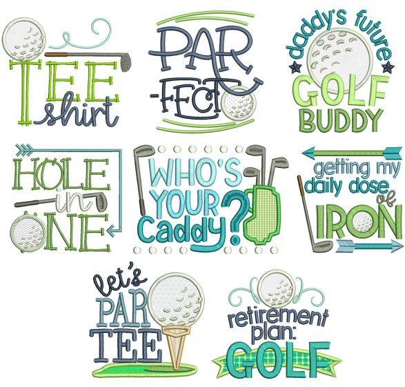 Golf Time Machine Embroidery Designs By JuJu