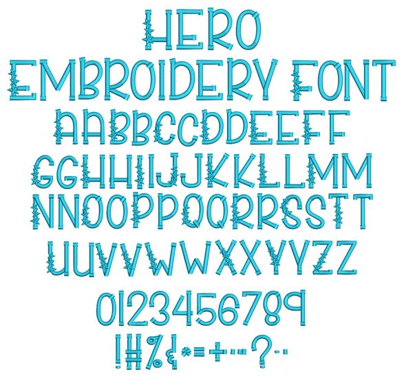 Hero Embroidery Font