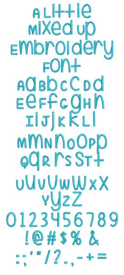 A Little Mixed Up Machine Embroidery Fonts Designs by JuJu