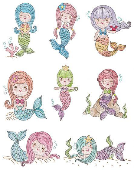 Vintage Sketch Mermaids Machine Embroidery Designs By JuJu