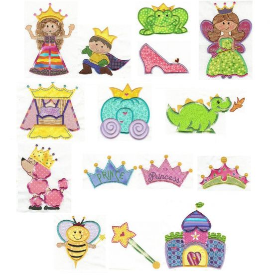 Cute applique Prince and princess machine embroidery designs including a dragon, princess bed, crown, castle and carriage