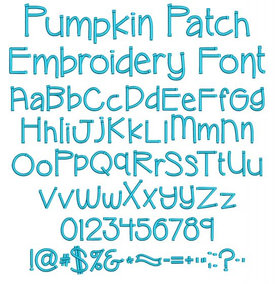 Pumpkin Patch Embroidery Font