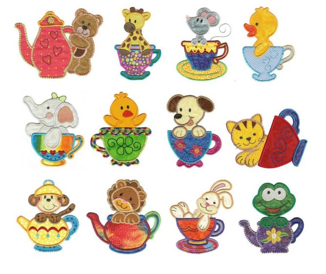Tea time tea cup and tea pot critters animals applique machine embroidery designs