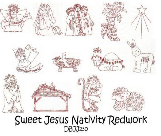 Sweet Jesus Nativity Redwork