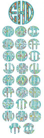 Circle Applique Monogram Alphabet Machine Embroidery Designs by JuJu