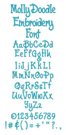Molly Doodle Embroidery Font Designs by JuJu Machine Embroidery