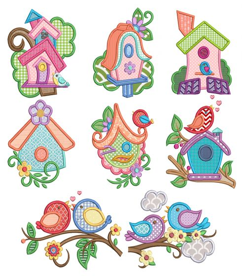 Sweet Birdie Applique Machine Embroidery Designs By JuJu