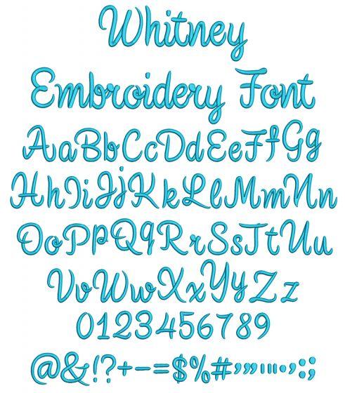 Whitney Font Digital Machine Embroidery Designs by JuJu