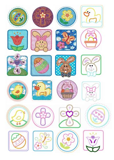 Easter Patches Applique Machine Embroidery Designs by JuJu