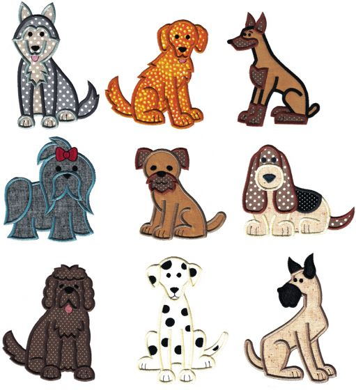 Top Dogs Applique Set 1 Machine Embroidery Designs by JuJu