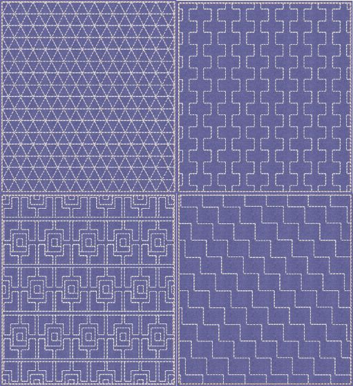 Sashiko Quilt Blocks 19 Machine Embroidery Designs by JuJu