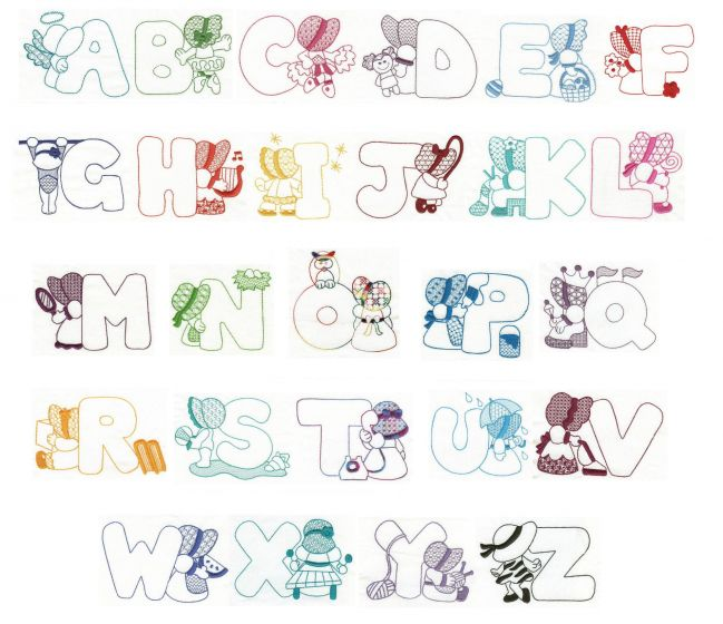 sunbonnet sue redwork alphabet machine embroidery monogram font