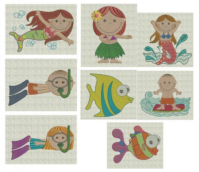 cute tropical kids mermaids scuba and fish machine embroidery designs