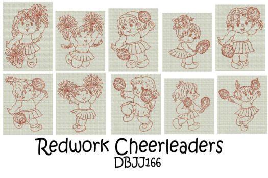 Redwork Cheerleaders