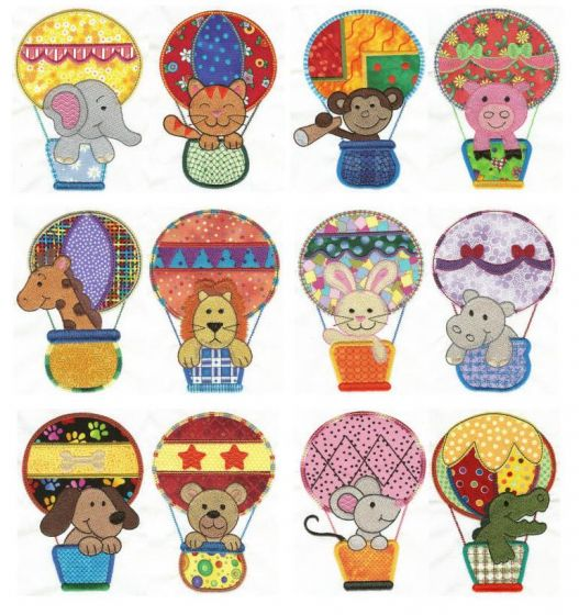 hot air balloon animals applique machine embroidery designs