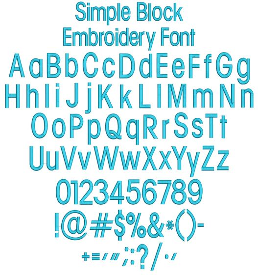 Simple Block Embroidery Font Machine Embroidery Designs by JuJu