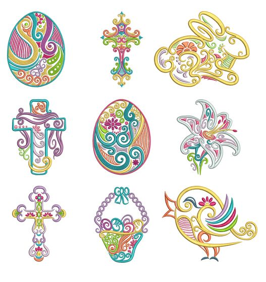 Swirly Easter Machine Embroidery Designs by JuJu