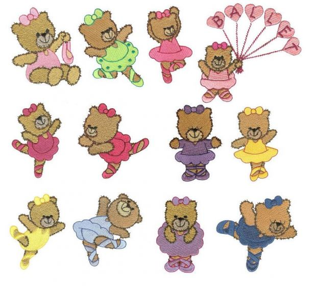 Beary sweet ballerinas filled stitch machine embroidery designs