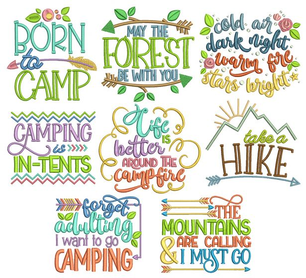 Camping Word Art Machine Embroidery Designs By JuJu