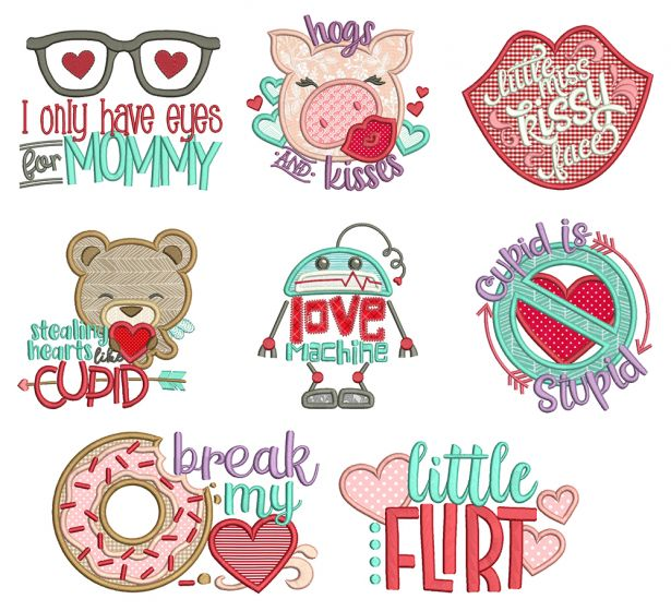 Lil Love Applique Machine Embroidery Designs By JuJu