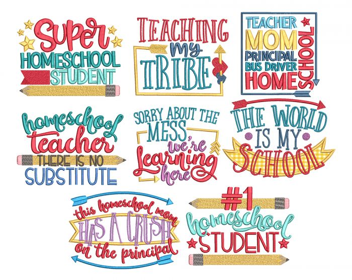 Homeschool Word Art Machine Embroidery Designs By JuJu