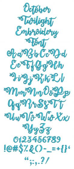 October Twilight Embroidery Font Machine Embroidery Designs by JuJu