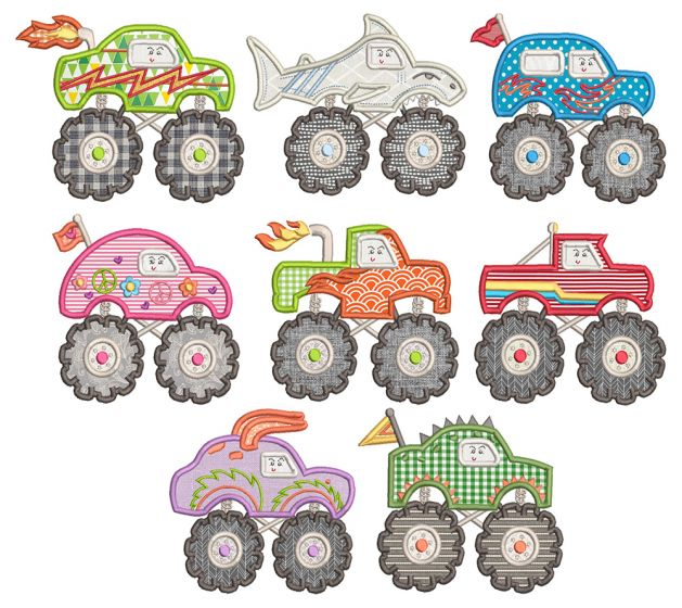 Cute Monster Trucks Applique Machine Embroidery Designs by JuJu