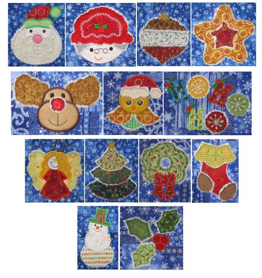 Raggedy raggy christmas applique machine embroidery designs