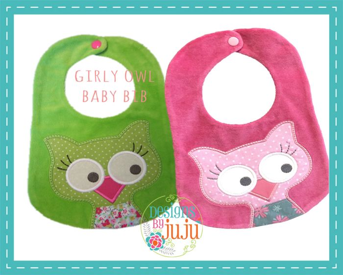 Girly Owl Bib
