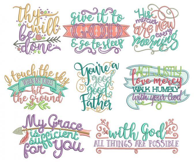 Biblical Sayings 3 Machine Embroidery Designs by JuJu