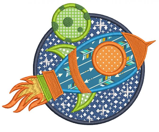 Free Space Rocket Applique Machine Embroidery Designs by JuJu
