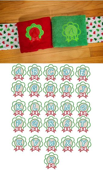 Christmas Wreath Embossed Monogram Alphabet Machine Embroidery Designs by JuJu