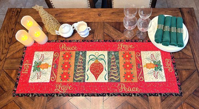In The Hoop Christmas Table Runner 1 Digital Machine Embroidery Designs by JuJu