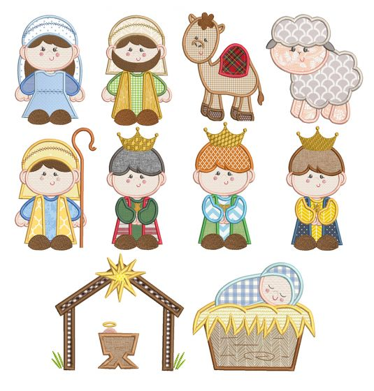 Silent Night Nativity Applique Machine Embroidery Designs By JuJu