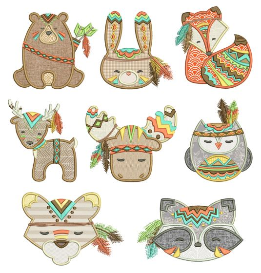 Tribal Baby Animals Applique Machine Embroidery Designs By JuJu