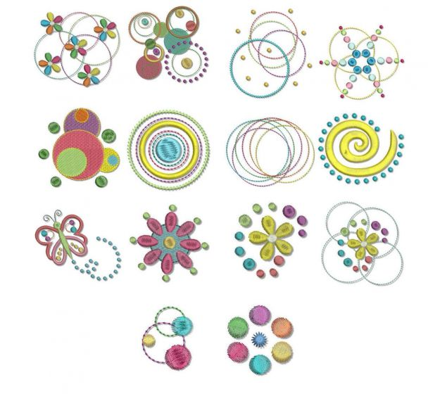 dots doodles swirls machine embroidery designs