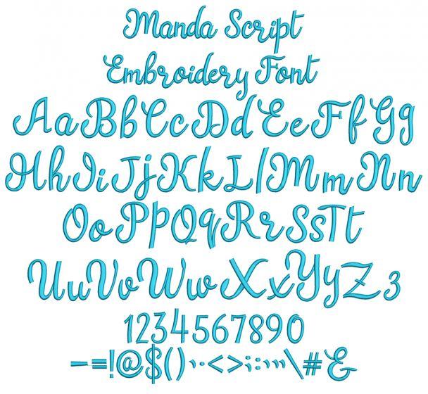 Manda Script Embroidery Font Machine Embroidery Designs By JuJu