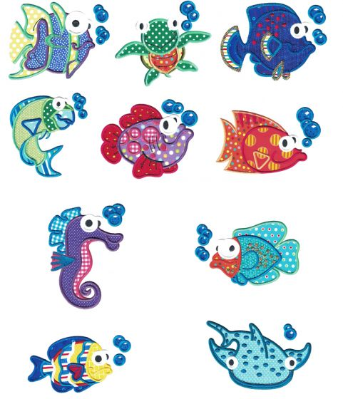 Silly Sea Creatures Applique Machine Embroidery Designs by JuJu