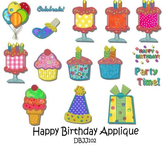 Happy Birthday Applique 5x7