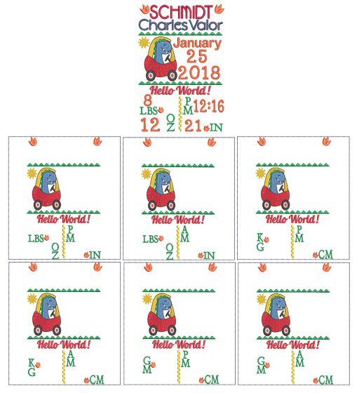 Dino Birth Announcement Template Machine Embroidery Designs by JuJu