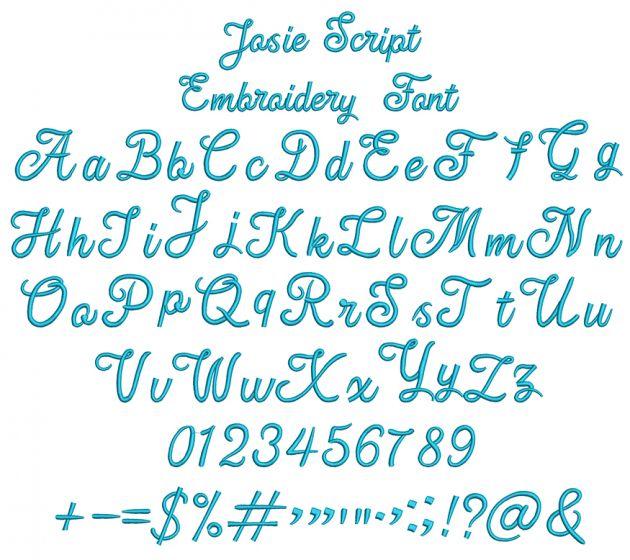 Josie Script Embroidery Font
