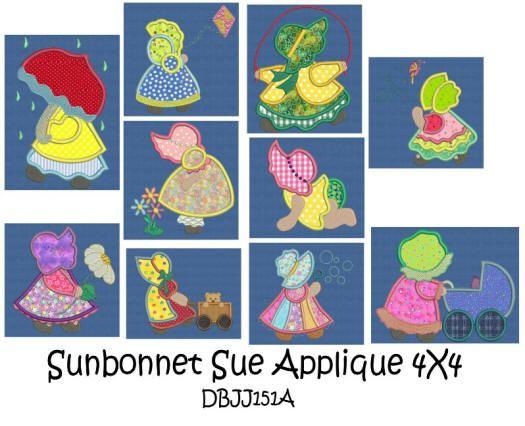 Sunbonnet Sue Applique 4x4 hoop
