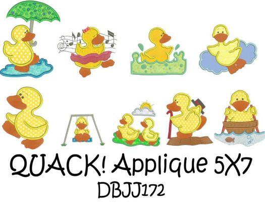 QUACK! Cute Ducks Applique 5x7