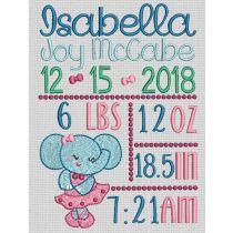 Ballerina Elephant Birth Announcement Template Machine Embroidery Designs by JuJu